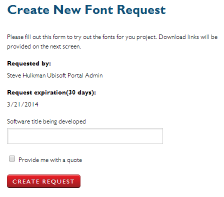 Create New Font Request